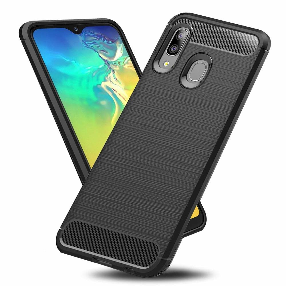 Carbon case SAMSUNG GALAXY A20E black | CASES \ Back Cases