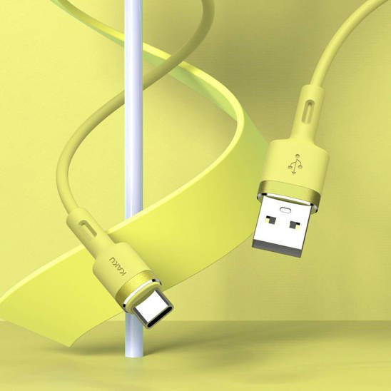 Cable 3,2A 1,2m USB Type C KAKU Skin Feel Charging Data Cable USB-C (KSC-420) yellow