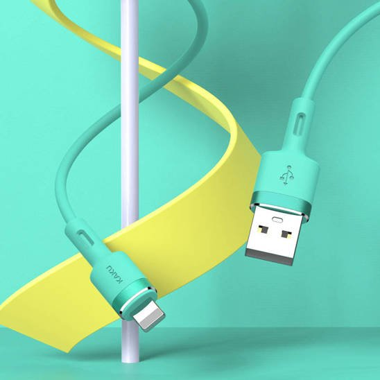 Cable 3,2A 1,2m iPhone Lightning KAKU Skin Feel Charging Data Cable Lightning 8-pin (KSC-420) turquoise