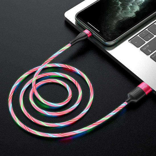 Cable LED 2.4A 1m USB iPhone Lightning Hoco U85 Charming Night Charging Data Cable red
