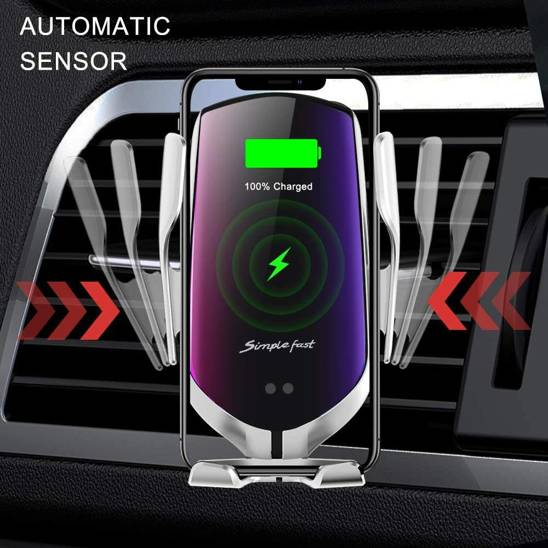 Car holder with induction charging for ventilation grille automatic R1 Air Outlet Wireless Charging Induction Car Bracket silver