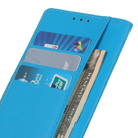 Case HUAWEI P40 LITE E / Y7p Litchi Texture Wallet Stand Leather Cover blue