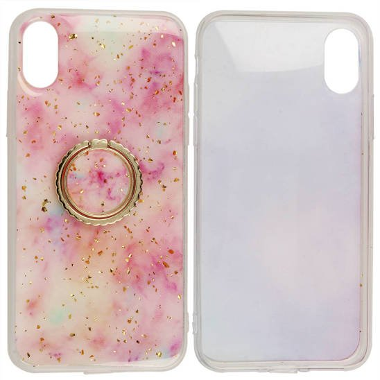 Case IPHONE 12 MINI Marble Ring Holder light pink