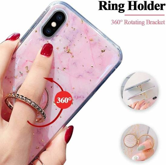 Case XIAOMI REDMI 9 Marble Ring Holder turquoise