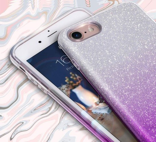 Glitter case XIAOMI REDMI NOTE 8 PRO silver-purple