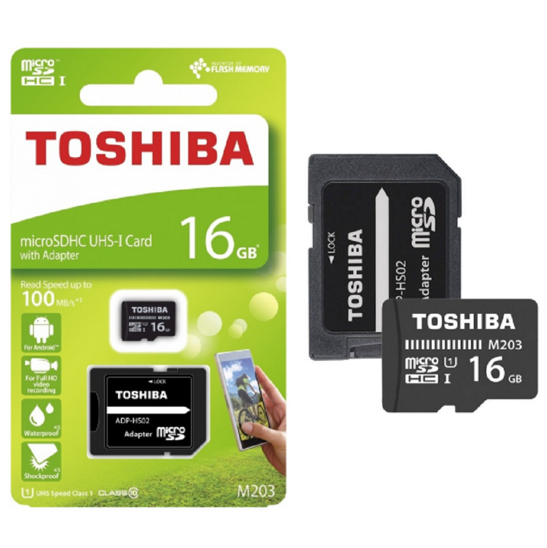 HC 16GB microSD memory card TOSHIBA CL10 UHS 100MB / S + ADAPTER