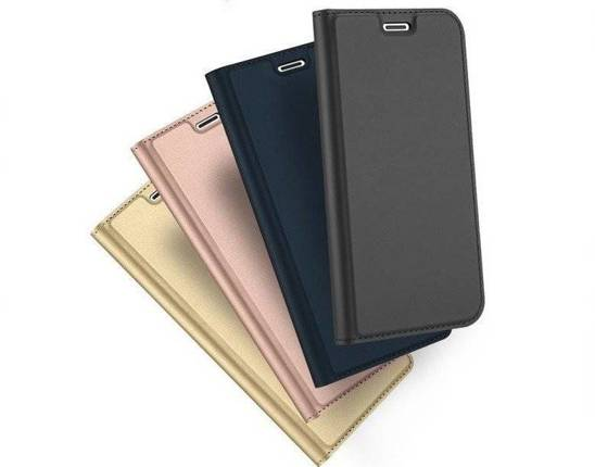 HUAWEI Y6P case with a Dux Ducis leather skin leather flip navy black