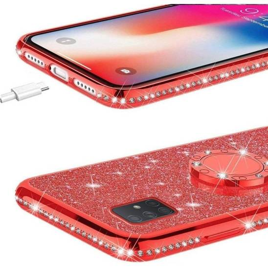 SAMSUNG GALAXY A41 Diamond Ring case. Red glitter
