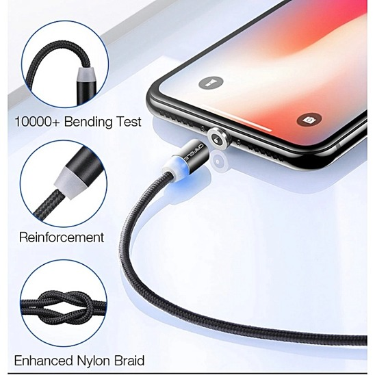 USB Magnetic Cable CAFELE 3in1 Micro USB/ TYP C USB-C/ IPhone Lightning LED silver