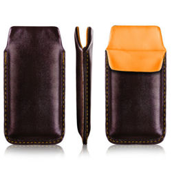 Vertical leather bar Vena SAMSUNG 5330 WAVE black (orange inside)
