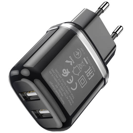 Wall Charger 2,4A 2xUSB + Cable 1m Micro USB Hoco N4 Smart Dual USB black