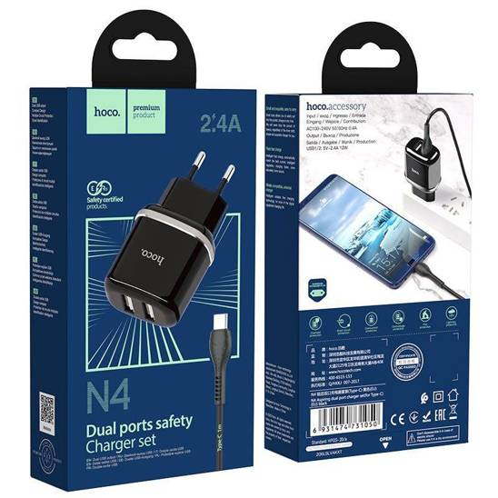 Wall Charger 2,4A 2xUSB + Cable 1m USB Typ C Hoco N4 Smart Dual USB USB-C black