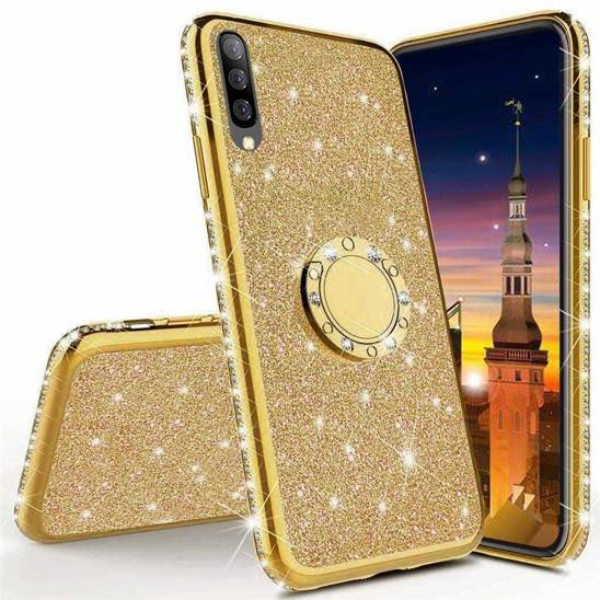 Etui HUAWEI Y6P Diamond Ring Brokat złoty